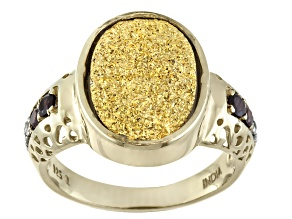 Pre-Owned Golden Color Drusy Quartz, Garnet And White Topaz 14k Gold Over Silver Ring .28ctw