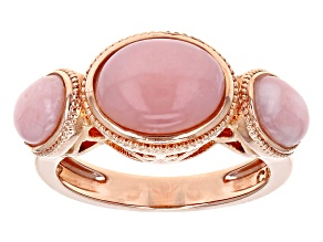 Pre-Owned Pink Peruvian opal copper 3-stone ring