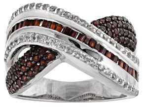 Pre-Owned Red Garnet And White Zircon Sterling Silver Ring. 4.57ctw