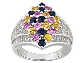 Pre-Owned Multi-Color Sapphire And Zircon Sterling Silver Ring 4.30ctw