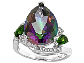 Pre-Owned Green Mystic Topaz® Sterling Silver Ring 9.86ctw