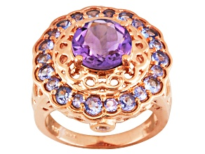 Pre-Owned Purple Brazilian Amethyst, Tanzanite And Zircon 18k Rose Gold Over Silver Ring 3.15ctw