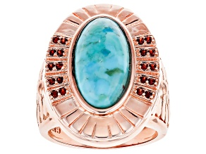 Pre-Owned COPPER TURQUOISE AND GARNET RING