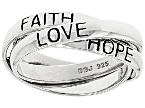 Pre-Owned Sterling Silver Triple Rolling Faith, Hope, Love Band Rings