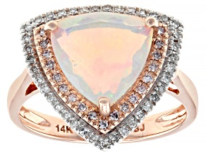 Pre-Owned Multi-color Ethiopian Opal 14k Rose Gold Ring 1.69ctw