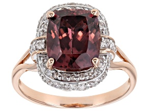 Pre-Owned Pink Blush Color Zircon 14k Rose Gold Ring 4.06ctw