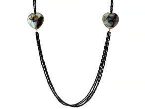 Pre-Owned Black Spinel With 28-30mm Heart Shaped Labradorite Necklace