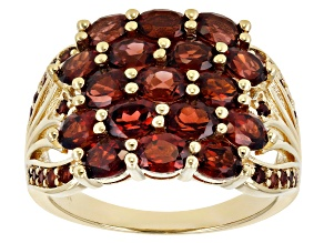 Pre-Owned Red Garnet 18K Yellow Gold Over Sterling Silver Ring 3.44ctw