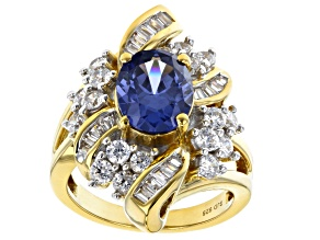 Pre-Owned Blue And White Cubic Zirconia 18K Yellow Gold Over Sterling Silver Ring 6.73ctw