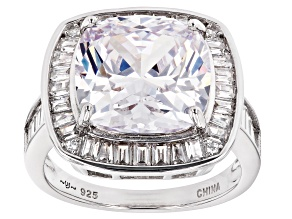 Pre-Owned White Cubic Zirconia Rhodium Over Sterling Silve Ring 11.50ctw