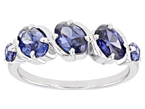 Pre-Owned Blue Cubic Zirconia Rhodium Over Sterling Silver Ring 2.71ctw