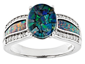 Pre-Owned Multi Color Mosaic Opal Triplet Rhodium Over Sterling Silver Ring 0.25ctw