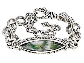 Pre-Owned Australian Green Opal Cabochon Sterling Silver Bracelet