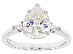 Pre-Owned Fabulite Strontium Titanate and white zircon rhodium over sterling silver ring 3.17ctw.