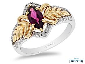 Pre-Owned Enchanted Disney Anna Ring Rhodolite Garnet & Diamond Rhodium & 14k Yellow Gold Over Silve