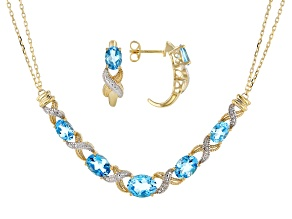 Pre-Owned Swiss Blue Topaz 14k Yellow Gold Over Sterling Silver Necklace And Earring Set 3.90ctw