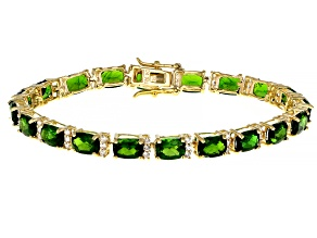Pre-Owned Green Chrome Diopside 18k Yellow Gold Over Sterling Silver Bracelet 17.88ctw