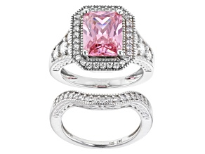 Pre-Owned Pink And White Cubic Zirconia Rhodium Over Sterling Silver Ring With Band 9.04ctw