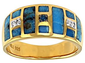 Pre-Owned Mens Turquoise With Diamond Accent 18k Yellow Gold Over Silver Inlay Ring