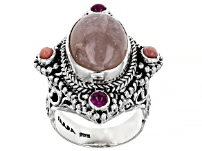 Pre-Owned Pink Morganite, Pink Opal, And Ruby Silver Ring