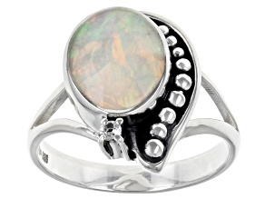 Pre-Owned Ethiopian Opal & White Topaz Sterling Silver Ring 0.82
