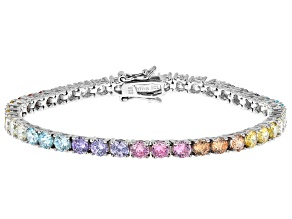 Pre-Owned Aurora Borealis And Multicolor Cubic Zirconia Rhodium Over Sterling Silver Bracelet 11.39c