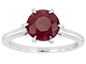 Pre-Owned Red Indian Ruby Rhodium Over Sterling Silver Ring 2.04ct