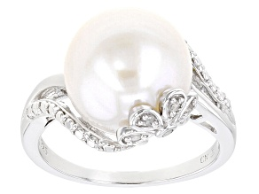 Pre-Owned White Cultured Freshwater Pearl With Diamond Accent Rhodium Over Sterling Silver Ring