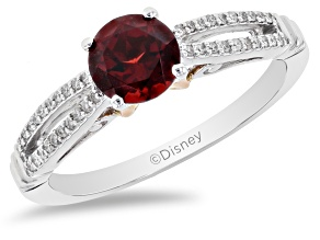Pre-Owned Enchanted Disney Snow White Ring Red Garnet And White Diamond 10K White And Rose Gold 1.40