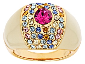 Pre-Owned Gold Tone Swarovski Elements ™ Crystal and Enamel Ring