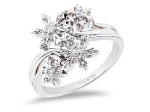 Pre-Owned Enchanted Disney Elsa Snowflake Ring White Diamond Rhodium Over Silver 0.10ctw