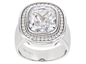 Pre-Owned White Cubic Zirconia Rhodium Over Sterling Silver Ring 10.70ctw