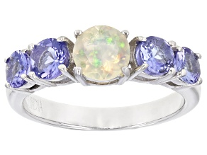 Pre-Owned Ethiopian Opal  Rhodium Over Sterling Silver Ring 1.16ctw