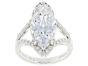 Pre-Owned White Cubic Zirconia Rhodium Over Sterling Silver Ring 9.93ctw