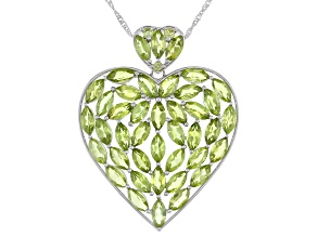 Pre-Owned Green Peridot Rhodium Over Silver Pendant With Chain 22.22ctw