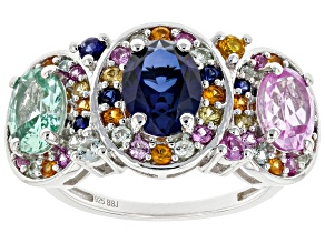 Pre-Owned Multicolor Lab Created Sapphire Rhodium Over Sterling Silver Ring 3.59ctw