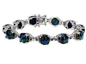 Pre-Owned Blue Azurmalachite Rhodium Over Sterling Silver Bracelet 0.56ctw