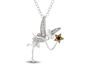 Pre-Owned Enchanted Disney Tinker Bell Pendant With Chain Diamond And Tourmaline Rhodium Over Silver