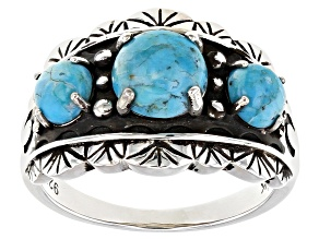 Pre-Owned Blue Turquoise Rhodium Over Silver 3-Stone Ring