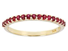 Pre-Owned Red Spinel 14k Yellow Gold Band Ring 0.24ctw
