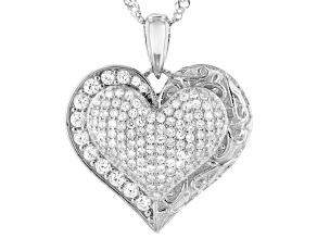 Pre-Owned White Cubic Zirconia Rhodium Over Sterling Silver Hear Pendant With Chain 1.19ctw (0.81ctw