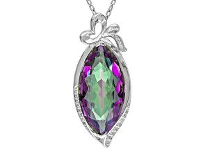 Pre-Owned Multicolor Quartz Rhodium Over Sterling Silver Pendant With Chain 14.13ctw