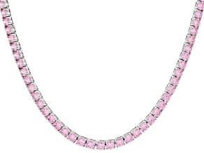 Pre-Owned Pink Cubic Zirconia Rhodium Over Silver Necklace 80.00ctw