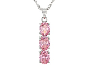 Pre-Owned Pink Cubic Zirconia Rhodium Over Sterling Silver Pendant With Chain 5.95ctw