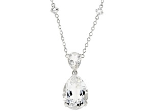 Pre-Owned White crystal quartz rhodium over sterling silver necklace 10.72ctw