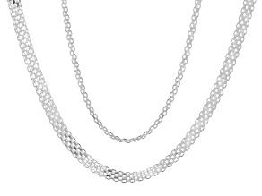 "Pre-Owned Sterling Silver Set of Two 18"" Bismark 2.4mm And 2.74mm Chain Necklaces"