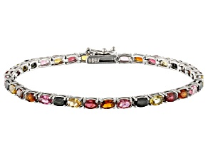 Pre-Owned Multi tourmaline Sterling Silver Tennis Bracelet 6.30ctw