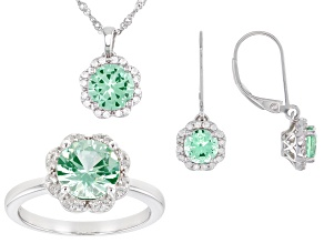 Pre-Owned Green Lab Created Spinel Rhodium Over Silver Jewelry Set 5.79ctw