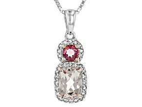 Pre-Owned Pink Morganite, Lab Created Bixbite And White Topaz Sterling Silver Pendant With Chain .94
