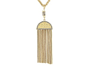 Pre-Owned White Crystal Gold Tone Tassel Necklace